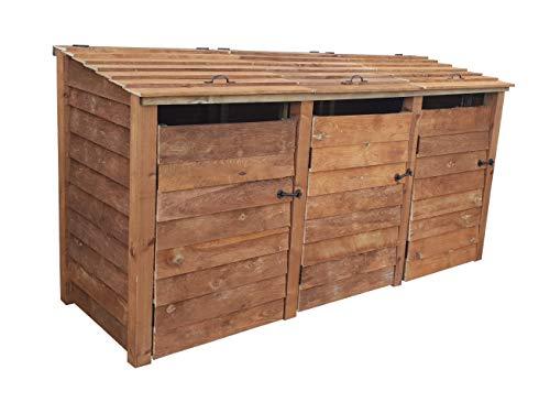 Triple Bin Storage Wooden Pressure Treated
