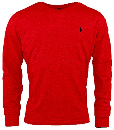 Polo Ralph Lauren Men Long Sleeve Pony Logo T-Shirt (Large, Holiday RED)