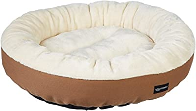 AmazonBasics Round Bolster Dog Bed with Flannel Top, 20-Inch, Brown