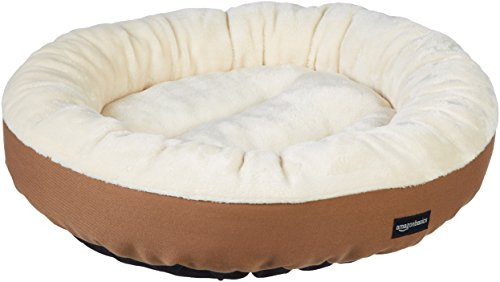 Amazon Basics Round Bolster Dog Bed with Flannel Top, 20-Inch, Brown