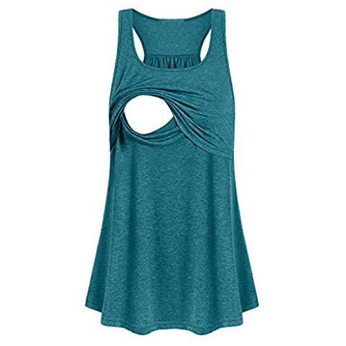 ZEFOTIM Women Maternity Loose Comfy Pull-up Nursing Tank Tops Vest Breastfeeding Shirt(Green,Large)
