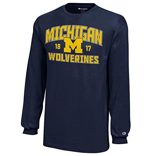 NCAA Champion Boy's Long Sleeve Jersey T-Shirt Michigan Wolverines Medium