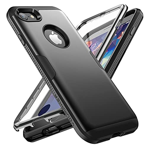 YOUMAKER Hülle für iPhone 8 /iPhone 7 Stoßfest wasserdichte Handyhülle Kompatibel mit iPhone 8 /iPhone 7 360 grad komplettschutz mit Displayschutz Fallschutz für iPhone 8 /iPhone 7 (4,7 Zoll)-schwarz