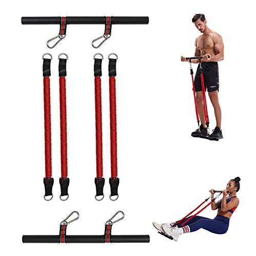 Barra Pilates con Elastici, Fascia per Fitness di Resistenza Multifunction Resistenza Barra per Allenamento di Resistenza Yoga Pilates