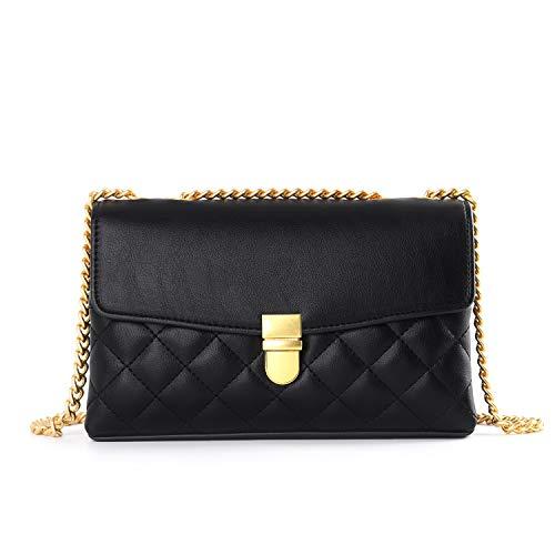 Crossbody Bolsas con cadena para las mujeres doble bolsillo moda bolso de hombro acolchado diseñador mini bolsos, negro (Negro), Small