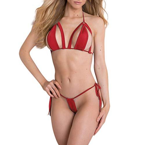 SomeTeam Damen Sexy Nachtwäsche Erotik Reizwäsche Einfach Dessous-Set Mit G-String Unterwäsche Bikini Bodydoll