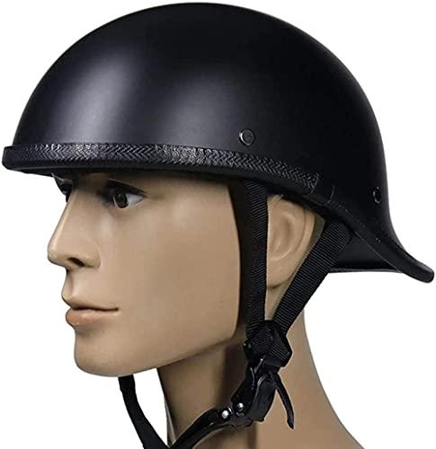 VERDELZ Casco de moto de cara abierta casco de moto para adultos y jóvenes casco de cuatro estaciones de motocicleta medio casco aprobado por ECE/DOT deportes al aire libre negro M = (57~58 cm)