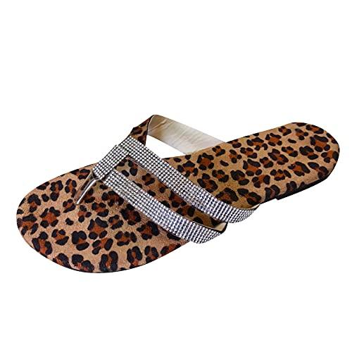 Sandalen Hausschuhe Schuhe Frauen Sommer Flip-Flops Open Toe Strass Casual Strandschuhe Wohnungen Hausschuhe (39,braun)