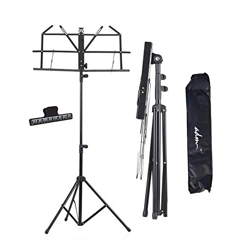 ADM Music Stand Folding Lightweight Sheet Music Stand & Desktop Stand Easy to Set Collapsible Adjustable Orchestra Portable with Carry Bag, Suitable for School & Choirs, Black