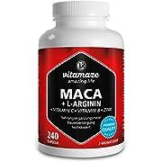Vitamaze Maca Capsule ad Alto Dosaggio 4000 mg Polvere + L-Arginina + Vitamine + Zinco, 240 Capsule per 2 Mesi, Qualità Tedesca, Maca Root Peruviana delle Ande, Qualità Tedesca, senza Additivi