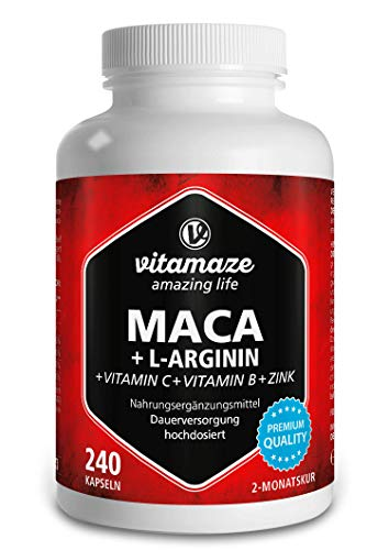 Vitamaze® Maca Gélules Fort Dosage 4000 mg + L-Arginine + Vitamines + Zinc, 240 Capsules de Maca Root Andine pour 2 Mois, Qualite Allemande, Supplement Alimentaires sans Additifs Inutiles