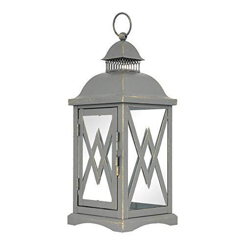 anion Dekolaterne, Metall und Glas, Vintage grau, 30cm hoch, Windlicht, Gartenlaterne