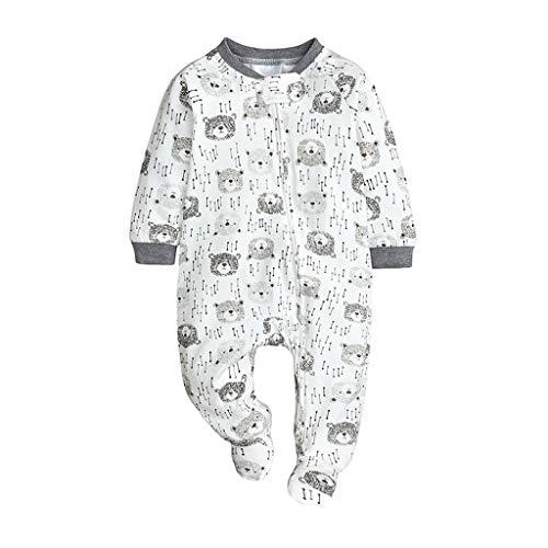 JKstore - Tutina da bambina per dormire e giocare, con zip sul davanti grigio 6 mesi