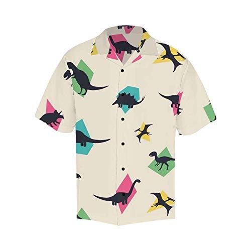 INTERESTPRINT Short Sleeve Hawaiian Shirt Button-up Style for Men Comfotable Funny Dinosaur M