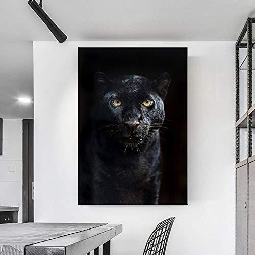 N / A Lienzo decorativo con diseño de Pantera Negra de Animales para la Pared, Cuadro nórdico, Pantera Negra, Cuadro de Pared para Decoración de Salón 50 x 70 cm, Sin Marco