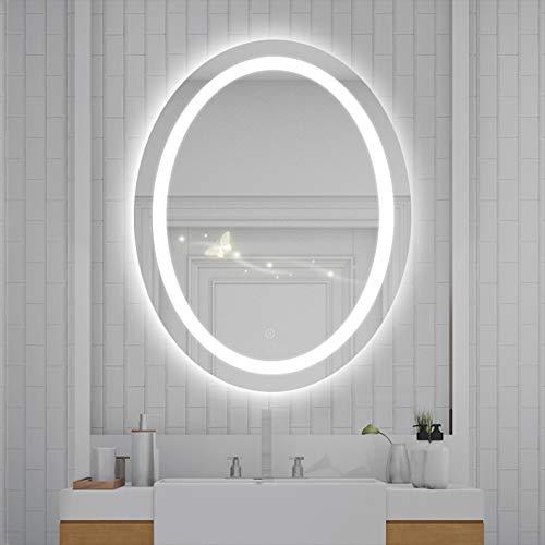 YIZHE Espejo de Pared,Espejo Baño,Espejo Colgante,Espejo baño,Espejo baño con luz,Espejo de Baño,Redondo con LED Iluminado,Espejo de Maquillaje Ovalado,60x80 cm