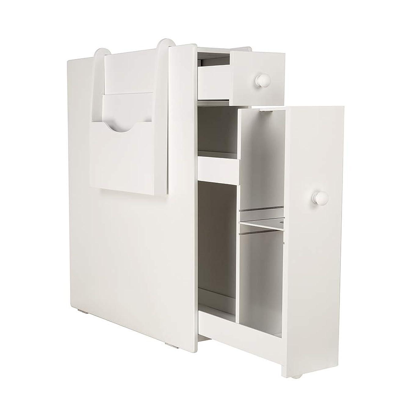 zixijiaju White Slim Bathroom Storage Cabinet Free Standing Toilet Paper Holder Bathroom Cabinet Slide Out Drawer Storage