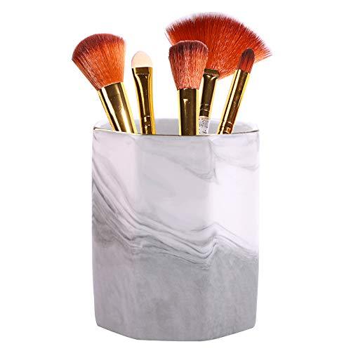 Make-up Pinsel Stifthalter,3 Zoll Keramik Marmor Muster Schreibtisch Bleistift Organizer,Nordic Decor Geschirr Aufbewahrungsbecher für Home Office Küche
