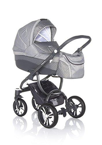 Bebetto Holland Modernes Travelsystem Kinderwagen Babywagen Buggy Kinderwagen System + Wickeltasche + Regenschutz + Insektenschutz (3in1: Babywanne + Sportsitz + Babyschale, W39G WEIß-GEPUNKTET GRAU)