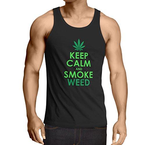 lepni.me Camisetas de Tirantes para Hombre Mantener la Calma y Humo - Hoja de Marihuana (Large Negro Verde)