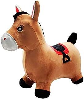 LEXIBOOK- Saltador Inflable Poni-Bomba de Mano incluida, Plástico Seguro y Resistente-Juego de Exterior e Interior niños-Marrón