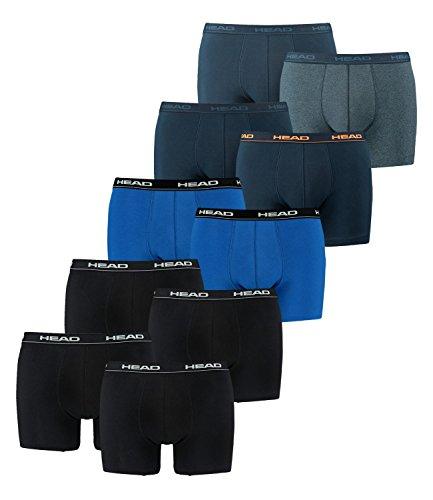 HEAD Herren Boxershorts 841001001 10er Pack, Wäschegröße:XL;Artikel:2x2er black / 1x2er blue/black / 1x2er peacoat/orange / 1x2er blue heaven