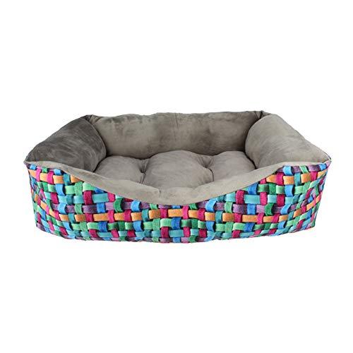 Acomoda Textil - Cama para Perros, Cuna para Mascotas Estampado Digital con Coralina, Cómoda, Cálida y Mullida. (Grande(78x60x22), Gris)