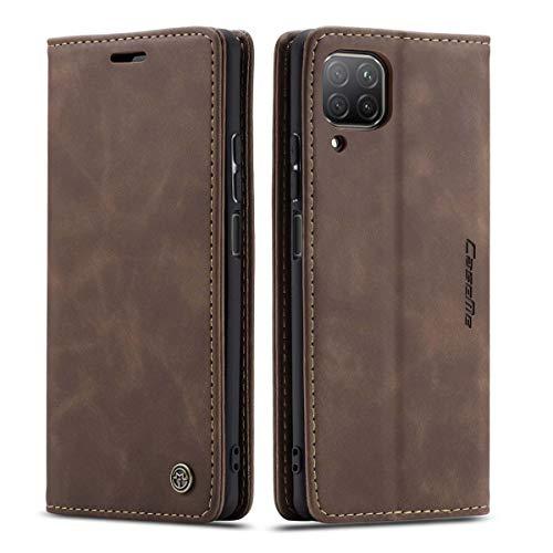mvced Handyhülle Kompatibel mit Huawei Nova 6SE/P40 Lite 4G/Nova 7i,Premium Leder Flip Hülle Schutzhülle mit Standfunktion,Kaffee