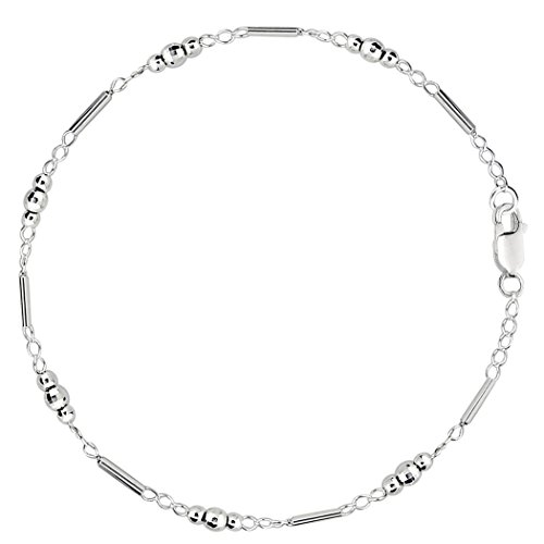 Fancy Link With Faceted Beads Chain Anklet In Sterling Silver, 11'