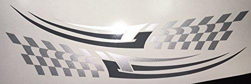 2x Autoaufkleber Motorrad Seitenaufkleber Truck LKW Aufkleber Car Design Tribal Shocker Futur 30cm in silber/grau
