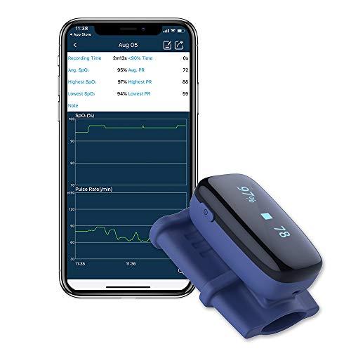 Schlafmonitor, Sauerstoff-Niveaumonitor mit Audio-Alarm, Herzfrequenz und Sp-o2, Sauerstoffmonitor mit OLED-Bildschirm mit Free APP