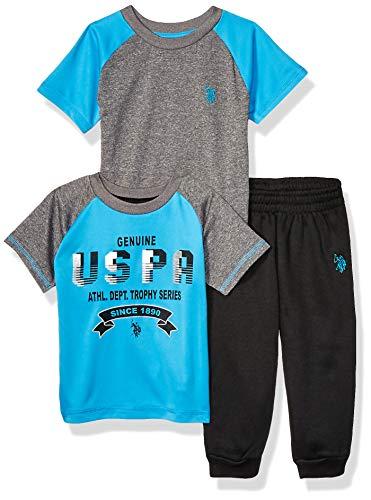 U.S. Polo Assn. Conjunto de 3 Piezas de Atletismo, Camiseta y Jogger para niños, Turquesa auténtica, 4 Años