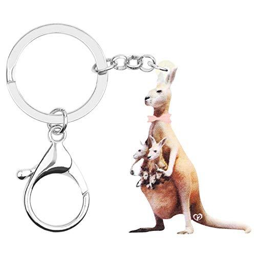 Portachiavi Portachiavi canguro marrone Portachiavi animale adorabile per donne Bambini Ragazzi Regalo Charms Decorazione auto