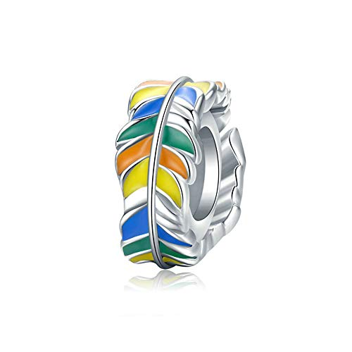 925 Sterling Silver Feather Charms Beads Colorful Enamel Fit European Women Diy Bracelets Necklaces Christmas Gift