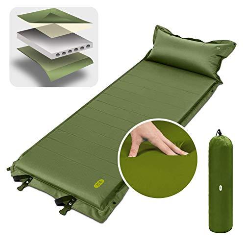 Zenph Camping Luftmatratze, Aufblasbare Foam Selbstaufblasbar,mit Kissen Leichte Falten Camping Isomatte für Hängematte und Zelt Schlafsack Outdoor Wandern (Grün)