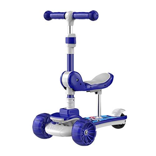ZZL Stunt Scooters Patinete con asiento plegable y extraíble inclinado para dirigir la altura ajustable para niños de 1 a 12 años de edad intermitente ruedas de PU Kickboard (color: púrpura)