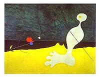 鳥ジョアン・ミロ 油絵インテリア アートポスター 絵画 飾り絵 複製名画プレゼント-リビング 、ダイニング 、オフィス 、バー、お風呂、寝室(40x52cm-16x20インチ、フレームなし)