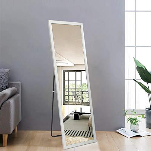 AUFHELLEN Standspiegel mit Weiß Rahmen aus Holz 140x50cm HD Groß Ganzkörperspiegel mit Haken für Wohnzimmer oder Ankleidezimmer