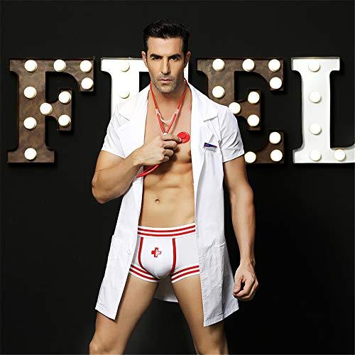 Z-DJJ Disfraz de Doctor Sexy para Hombre - Nueva Halloween para asistir a la Mascarada Ropa de médico Masculino Disfraces de Cosplay de Doctor (Talla única)