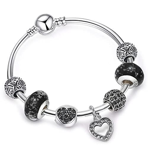 Pulseras con dije de corazón de amor chapadas en plata para mujeres y hombres con cuentas luminosas de cristal, pulsera y brazalete de marca, regalo de joyería DIY