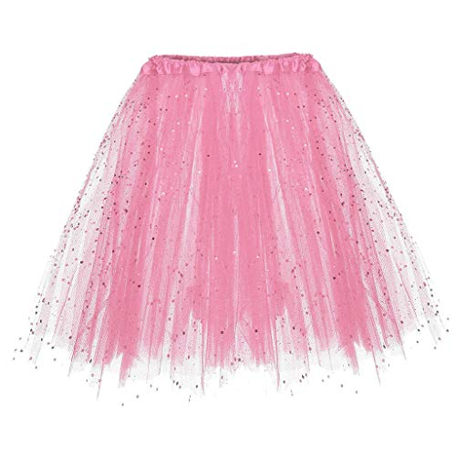 WOZOW Damenrock Tutu Ballettrock Petticoat Unterrock Cosplay Minirock Multi-Schichten Crinoline Tanzkleid Party Karnevalskostüm (50-110,Rosa)