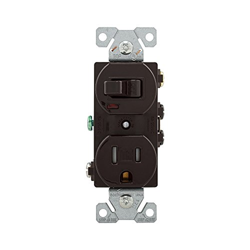 EATON TR274B Arrow Hart Tr274 Duplex Combination Switch/Receptacle, 2 P, 3 Wire, 15 A, 120 V , Brown