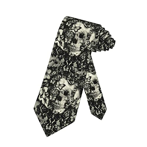 LKKPT Corbata para hombre, corbata gótica con encaje, calavera, corbata victoriana, corbata...