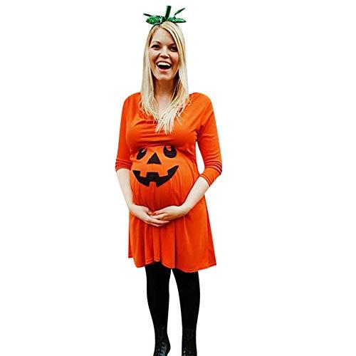Franterd Happy Halloween Women's Maternity Dress Halloween Devil Print Shirt Dress Nursing Nightgown Pregnancy Clothes