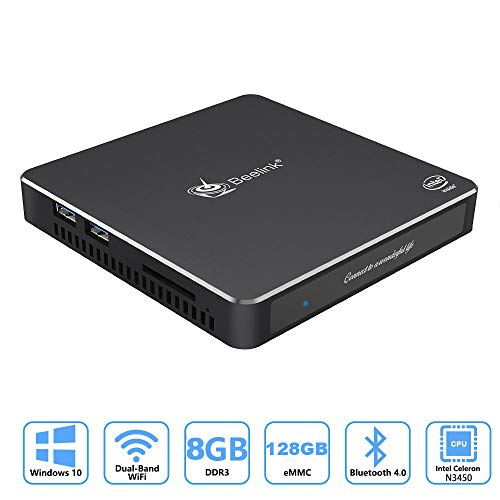 Beelink T34 Windows 10 Mini-PC mit Intel Celeron N3450 2,2GHz 4K Mini-Desktop-Computer 8GB DDR3L+128GB SSD/Dual-HDMI/Dual-WiFi /1000 Mbits LAN/Lüfter