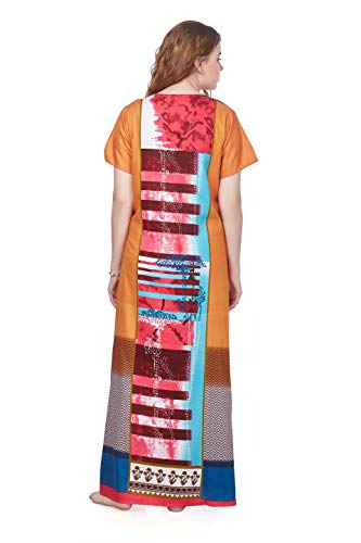 R.F. Women's Rayon Printed Maxi Full Length, Round Neck Night Gown/ Nighty, Comfortable, Simple, Durable and Fashionable (101_Multicolor_2XL)