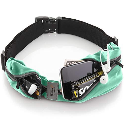sport2people Running Belt - Laufen Gürteltasche für Herren und Damen - Laufgürtel Bauchtasche für iPhone X 7 8 11 12. Sport Hüfttasche Hände Frei Jogging, Laufen - Reflektierend Läufer Gürtel (Mint)