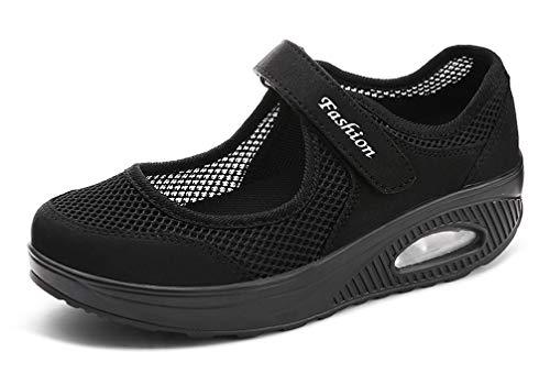 Dames ademende mesh-schoenen vrijetijdsschoenen met wighak licht wandelschoenen plateau turnschoenen outdoor fitnessschoenen mode luchtkussen espadrilles maat