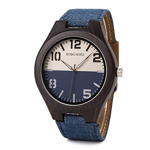 wood watches with dates Men Wooden Watches for Lovers Quartz Wristwatches Perfect Gifts with Wooden Box for Valentine's Day (R29-2 for Men)