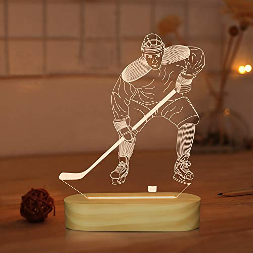 Hockey sobre hielo Lámpara de ilusión 3D LED de luz nocturna para niños y niñas, ventilador de deportes, alimentación USB, color blanco cálido, decoración de habitación lámparas de mesa